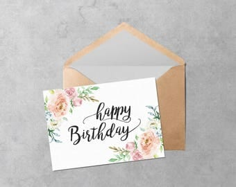 Printable Birthday Card   Instant Download PDF Cute Watercolor Flowers Birthday  Card Template   Cut And  Printable Birthday Card Template