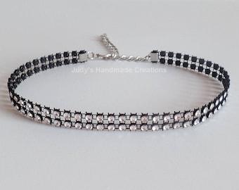 Faux Rhinestone Choker, Rhinestone Black Choker, Rhinestone Choker, Black Choker Necklace, Diamond Choker,Popular Necklace