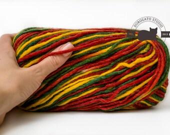 Natural wool yarn, wool multicolored, Bulky yarn, Natural fiber, variegated yarn, knitting yarn, winter yarn, crochet yarn