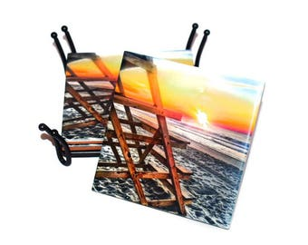 Valentines Day Gift Lifeguard Stand Beach Coasters Housewarming Gift  / Ceramic Tile Coaster Set Sold Individually or Set of 4  / Beach Gift
