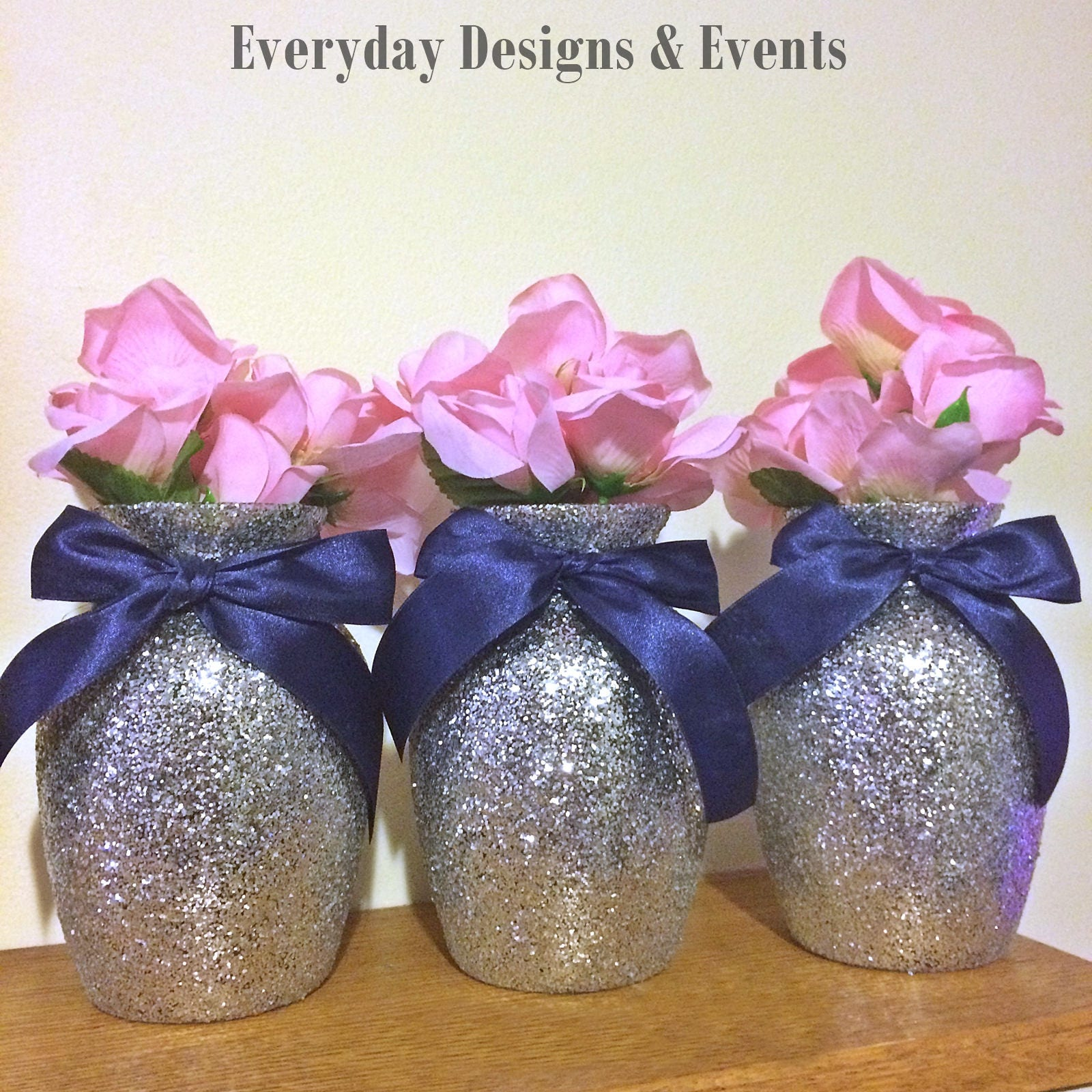 3 Silver and Navy Baby Shower Baby Shower Decorations