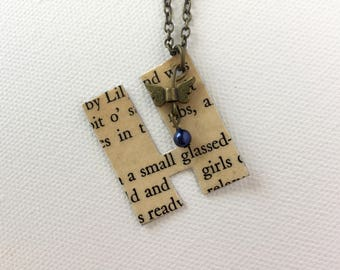 Butterfly Blue Bead Book Page Pendant, Personalized Monogram Necklace, Reader Gift, Writer Gift, Recycled Vintage Books Jewelry, Friend Gift