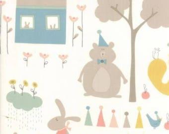 Corner of 5th and Fun - Bears and Bunnies on Cream from Moda