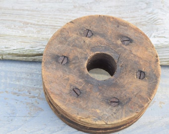 Wooden Pulley Wheel, Industrial Decor, Rustic Decor, Farmhouse Decor, Wooden Wheel, Primitive Decor, American Farmhouse, Lamp Supply