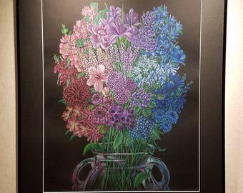 Gender Bouquet (Stronger Together) - Framed 24x30 Colored Pencil Drawing
