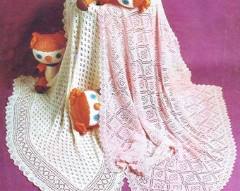 Baby Knitting Pattern pdf 2 ply & 3 ply Vintage Lacy Shawls