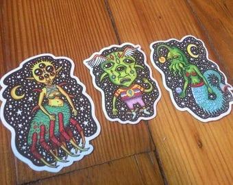 Vinyl Sticker Pack, 3 Stickers, Alien Stickers, Hipster Stickers, Tumblr Stickers, Weatherproof Sticker, Aesthetic, Cool Stickers, Instagram