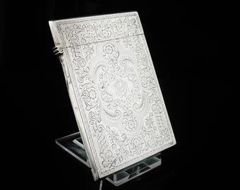 Sterling Silver Antique Calling Card Case, Hallmarked Birmingham 1899, George Unite, English, Business Card, REF:333I