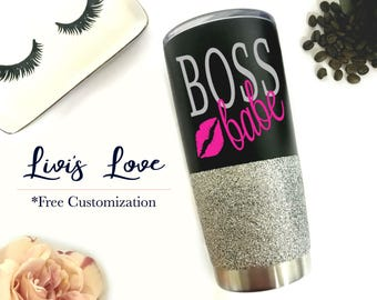 Boss Babe Black Glitter Tumbler 20 oz Stainless Steel Vacuum Insulated Travel Coffee to go cup coffee cup mug Lady Boss Babe Boss Lady