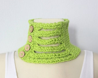 Green Knit Cowl - Knit Cowl Scarf - Knitted Women Scarf - Women Fashion Accessories - Winter Gift Ideas for her - Christmas