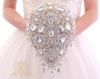 Luxury teardrop jeweled silver crystal brooch bouquet by MemoryWedding. Wedding glamour Gatsby crystal bling cascading.