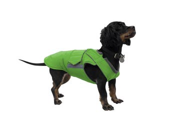 Extra Warm Winter Dog Coat - Dog Jacket with underbelly protection - Red Dog Coat - Waterproof / Fleece dog clothes - MADE TO ORDER