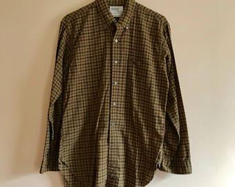 50s 60s Plaid Shirt, Button Down, Tain, Green, Blue, University Row, Manhattan, Ladies Man, 1950s, 1960s, Size M, Size 15