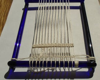 Small glass weaving tapestry hand loom in cobalt blue 5x7