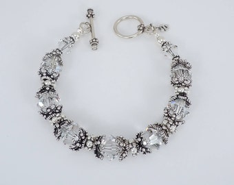 Crystal Bracelet, Bead Bracelet, Swarovski 10mm Crystals, Sterling Silver Bali Bead Caps, Sterling Toggle Clasp, 7.5 Inches