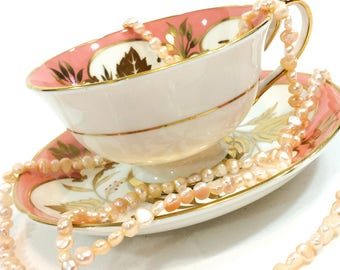 Royal Grafton Tea Cup and Saucer, Studio Leaf, Pink and Gold, Shabby Chic Decor, Vintage English Bone China Porcelain
