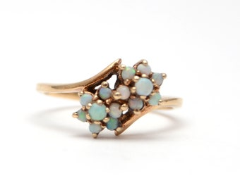 10k Double Opal Cluster Ring