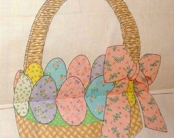 Easter Basket Eggs Cranston Print Works Pink Yellow Cotton Quilting Fabric Panel