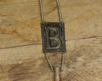 """Upcycled Metal Initial """"B"""" with quartz"""