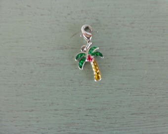 Vintage Goldtone Metal &  Enameled Palm Tree Charm