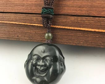 "Dark Green Canadian Jade Happy Buddha Pendant Double Sided, 1.1"" Special"