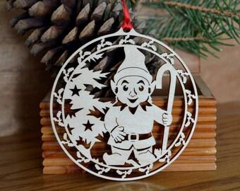 Woodcut Christmas Elf ornament  Window, desk, tree ornament Laser cut elf decoration