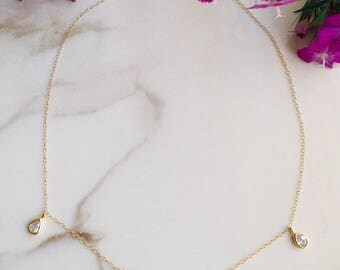 Raindrops Necklace, CZ Choker, Dainty Gold Choker, Dainty Layering Necklace, Delicate Choker, Silver Choker, Teardrop Necklace, Gift for Her