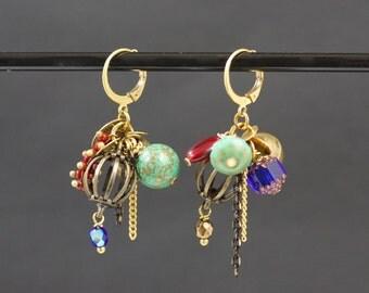 Hodge - podge asymmetrical vintage Stud Earrings