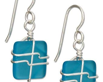 Sterling Silver Wire Wrapped Sea Glass Earrings