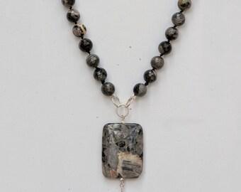 Silver Leaf Jasper Knotted Pendant Necklace