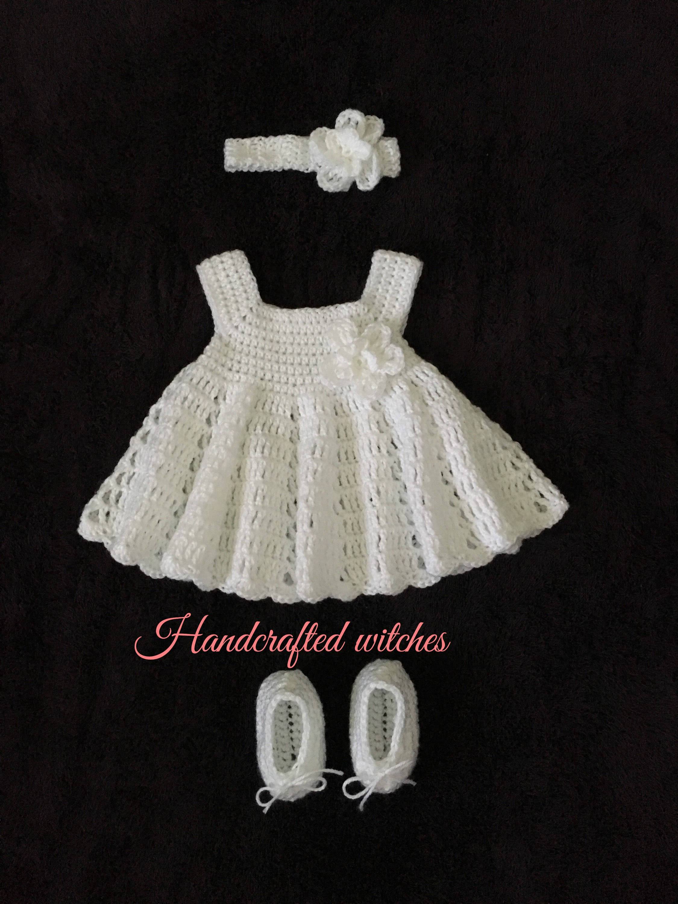 Crochet baby dress baby baptism dress baby christening gown baby