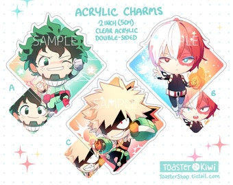 BNHA Charms 2 inch Double-Sided Clear Acrylic