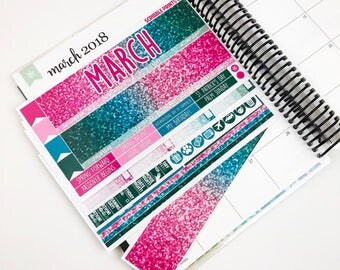 March Monthly Spread Kit - Hello (Glossy Planner Stickers)