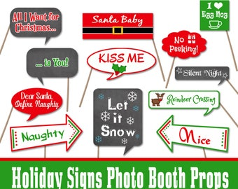 Christmas Signs Photo Booth Props - Printable - Includes 30 Images in Pdf Format - Digital Download - INSTaNT DOWNLoAd