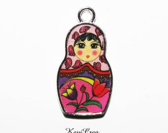 4 x pink enamel Russian doll charms
