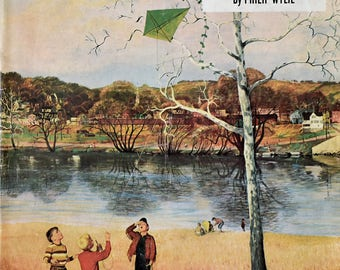 "1956 ""Kite In Tree"" - John Clymer Art, Dalmation Dog, Saturday Evening Post Magazine Cover Art - 1950s Boys Flying a Kite"