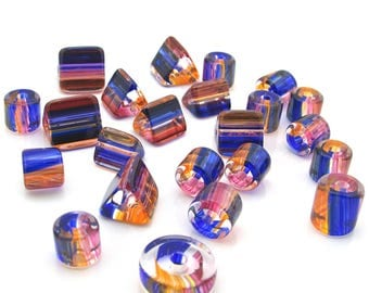 Tri-Tone Glass Beads, Watercolor Art Glass, Striped Furnace Cane Bead Mix, Color Coordinated Set 1.05oz SB200PPO