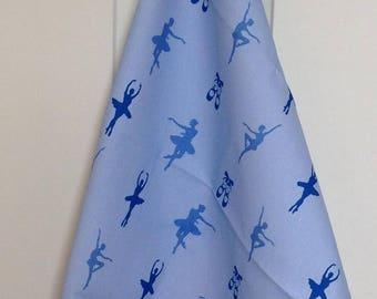 Blue ballet tea towel -  blue ballet kitchen towel - blue ballerina tea towel - blue ballerina kitchen towel - in 100% cotton