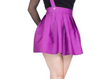Skater Skirt with Suspenders. Women's High Waisted, Mini, Pleated, Jumper Skirt. Pastel Goth, Gothic, Rockabilly, Vintage, Pin Up Clothing