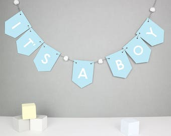 It's a boy banner, baby shower bunting, new baby boy bunting, party bunting, new baby gift, garland, pom pom nursery decor