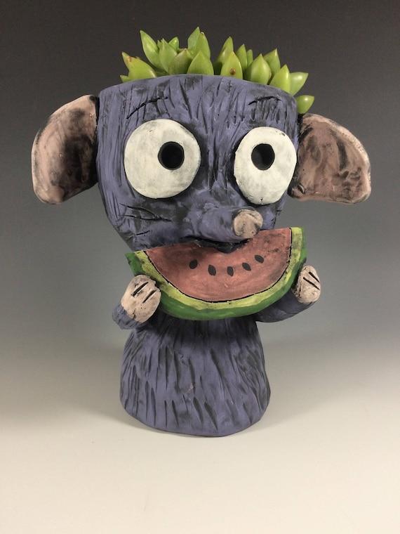 Seedy the Rat // Rat // Rat lover // Watermelon lover // Summer // Succulent planter // Animal pot // Watermelon rat // ceramic planter