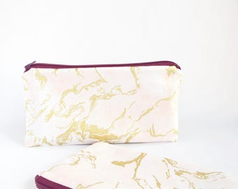 PINK GOLD MARBLE Pouch for Travel or Organize Purse Bag. Cotton Pouch for Makeup or Cosmetics. Cute Makeup Bag. Gift for Her. Pencil Case.