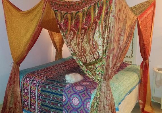 Like this item? & Bed Canopy IN STOCK Bohemian Gypsy India Silk Saree Sari