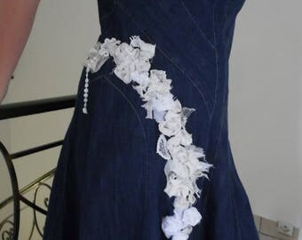 Customisation of denim dress for rustic wedding themed jeans