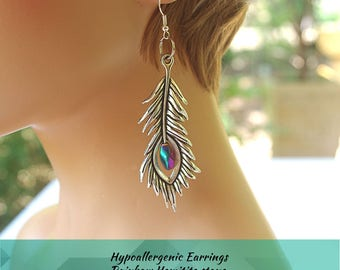 Silver feather and stone earrings, drop earrings, ruffled feather, rainbow hemitite, turquoise stone