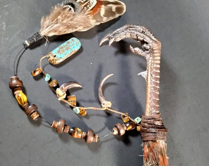 Ringneck Pheasant Claw, Turquoise, Tiger's Eye Voodoo/Hoodoo/Rootwork/Santeria Long Wand/Short Staff