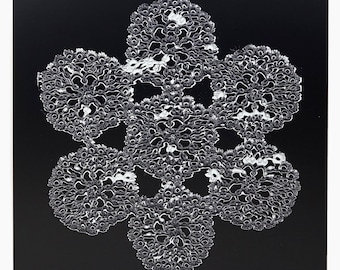 "Karen Savage Photogram ""Constellation"" Doily Black & White Photograph Photo Vintage Modern Art"