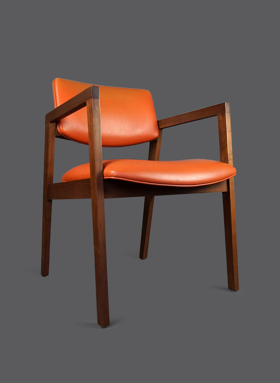 Mid Century Wooden Armchair United Chair pany USA Orange