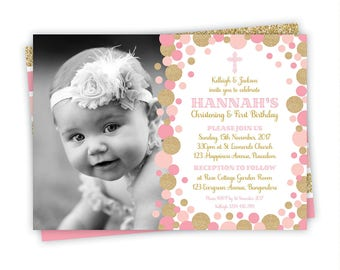 Pink and Gold Baptism Invitation, pink and gold christening invitation, Baptism and birthday invitation, baptism and 1st birthday invitation