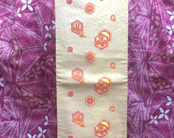 "OBI Nagoya obi ""folded paper crane "" Nishijin weaving golden shiny beautiful Obi Zentsu Japanese kimono"